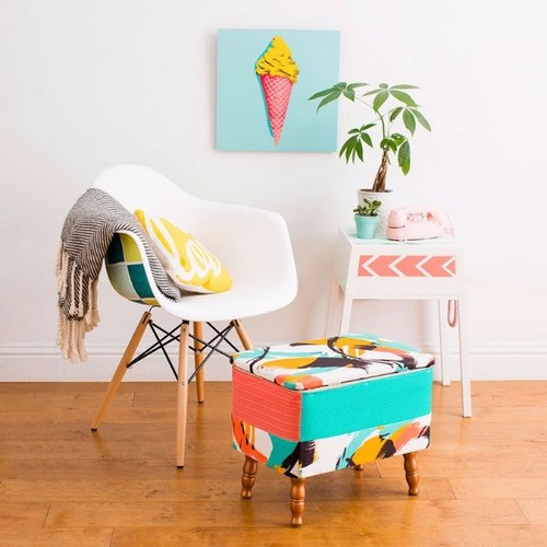 Turn an Ugly Thrift Store Ottoman into a Statement Piece