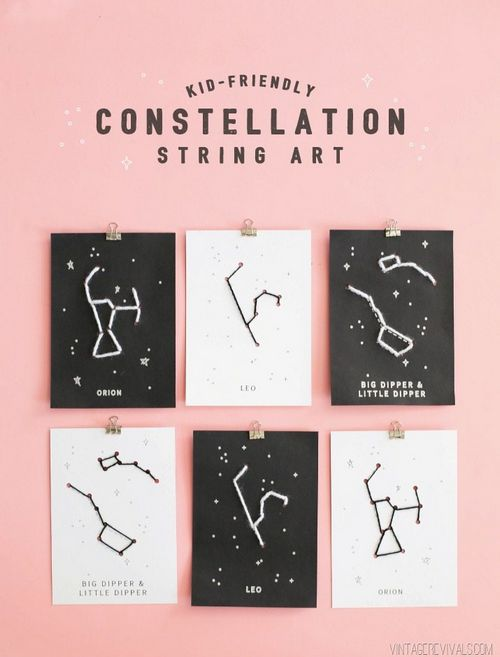 DIY Embroidered Kid Friendly Constellation String Art