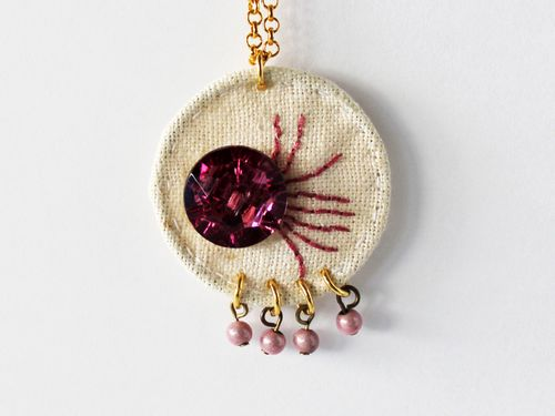 DIY Embroidered Pendant Jewelry With A Button