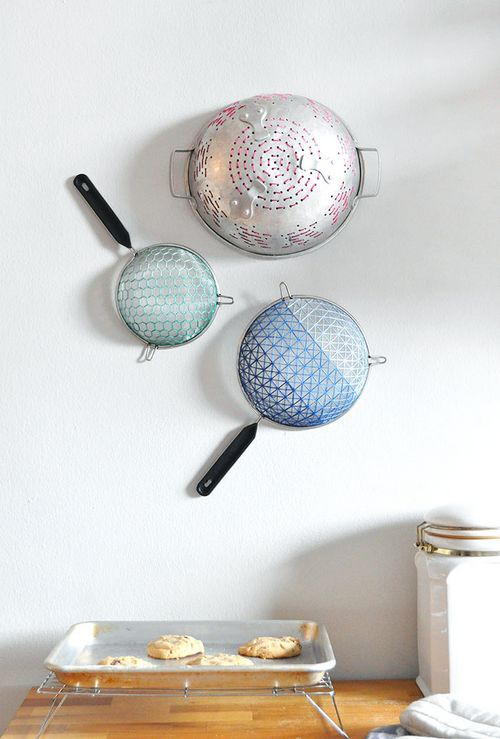 DIY Embroidered Strainer Art