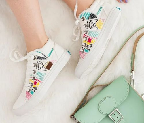 DIY Embroidered White Canvas Sneakers