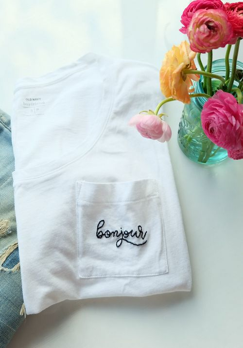 DIY Embroidery Graphic Boyfriend Tee