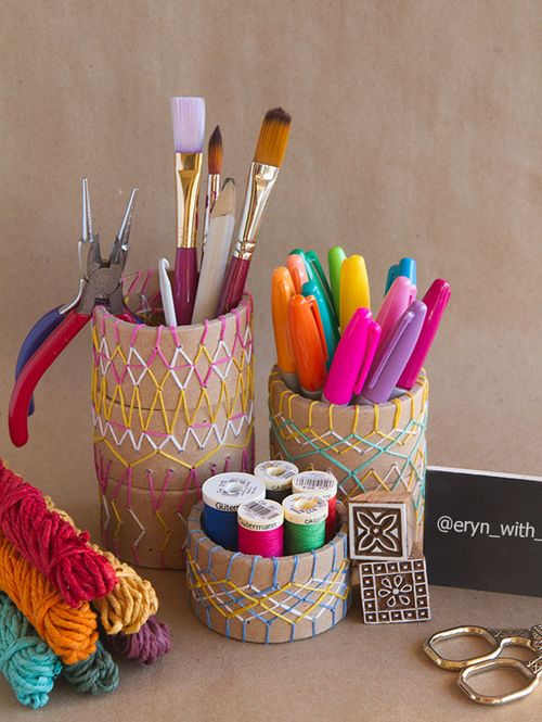 DIY Embroidery Pencil Holder DIY for the Crafty Desk
