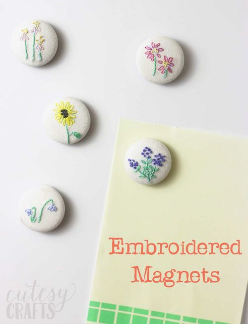 DIY Embroidery Pretty Floral Magnets