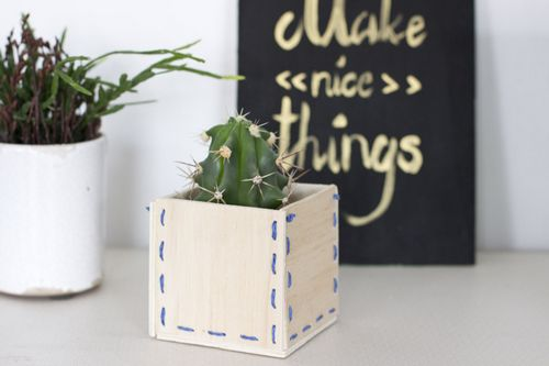 DIY Embroidery Wooden Stitched Planter