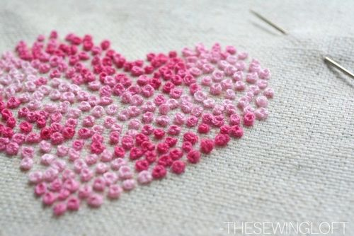 French Knot DIY Embroidered Hearts