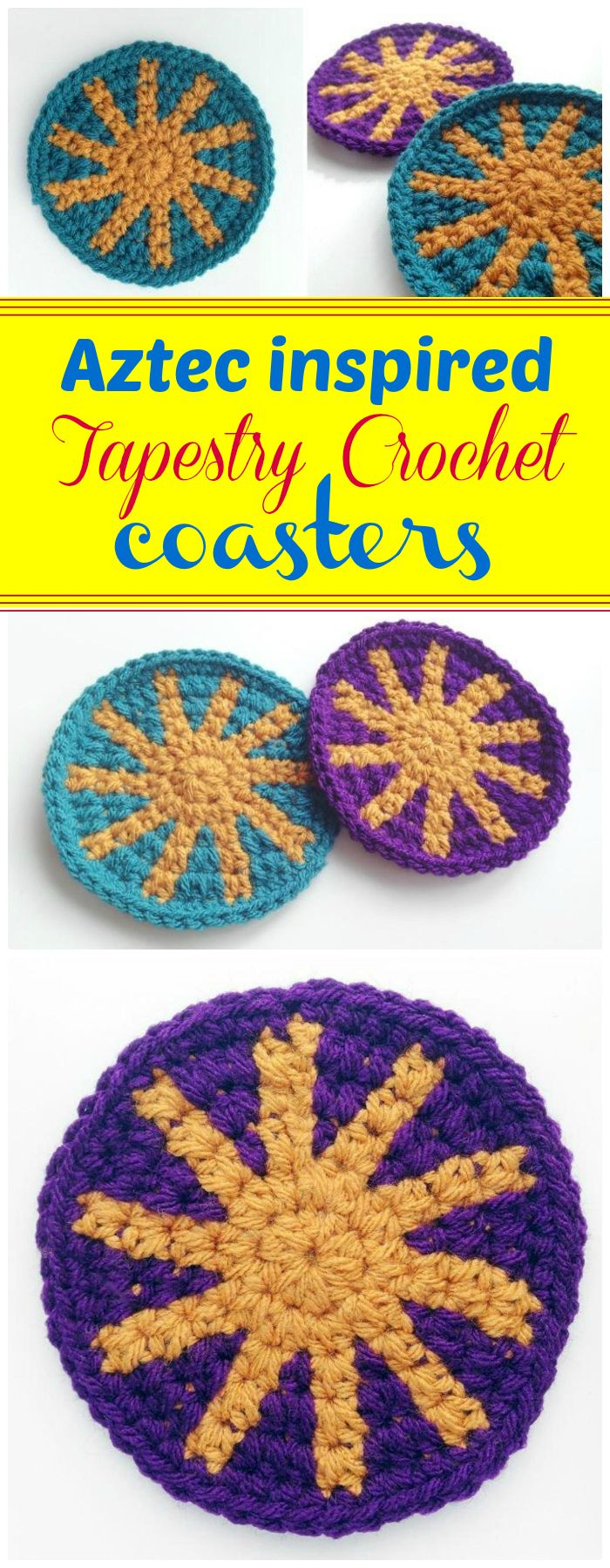 Aztec Inspired Tapestry Crochet Coasters - free crochet coaster patterns | Free Crochet Coaster Patterns