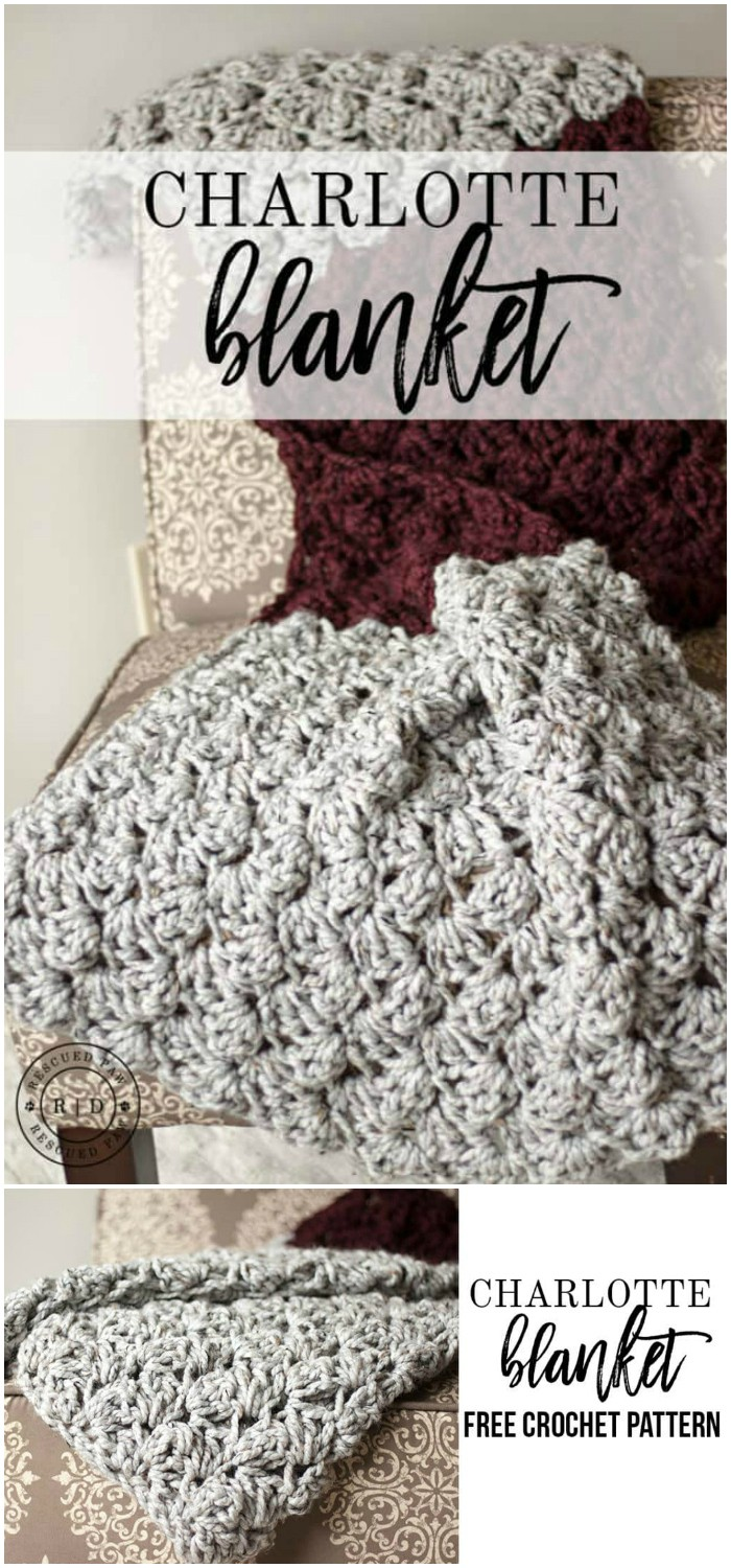 Charlotte Crochet Blanket - All of these free crochet blanket patterns are so much beautiful and really easy. Most of them are so much less time-consuming and even they can be completed in less than one week. #Blankets #crochetblanket #crochetblanketpatterns #freecrochetblanketpattern #freecrochetblanket