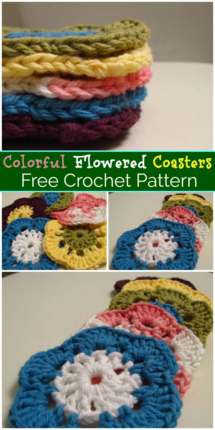 Colorful Flowered Coasters - free crochet coaster patterns | Free Crochet Coaster Patterns