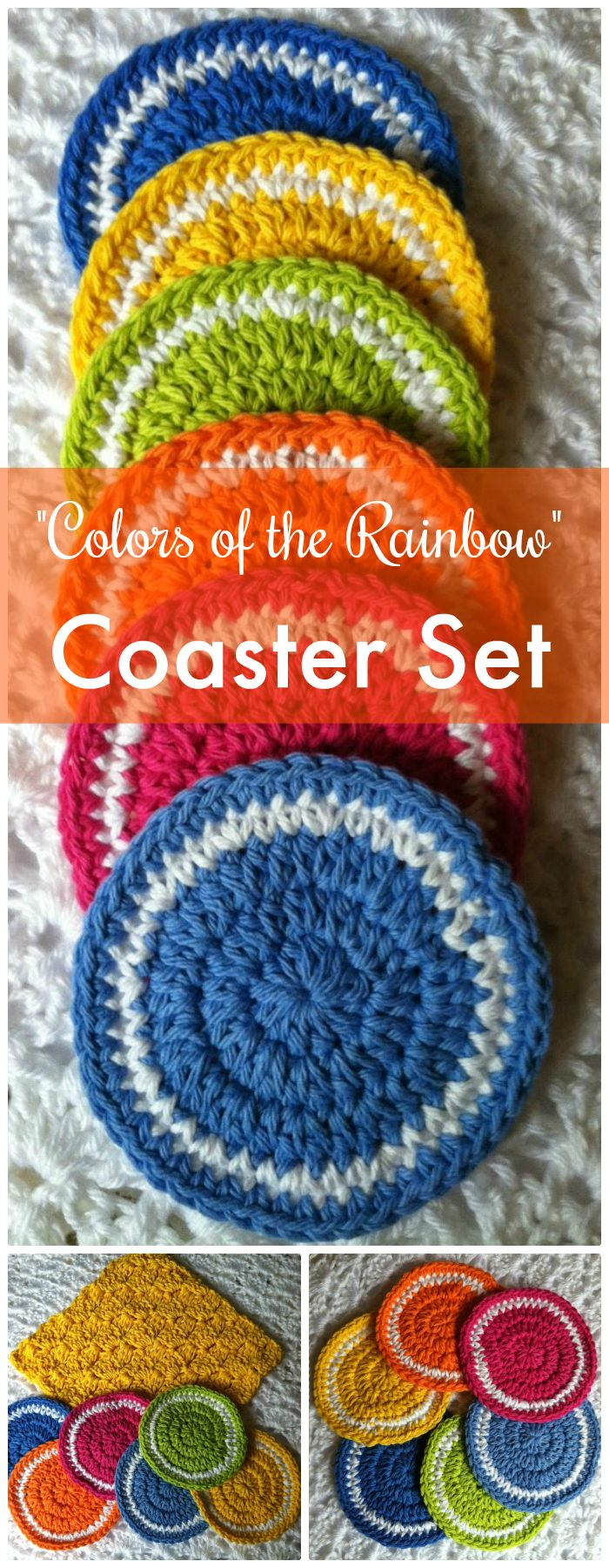 Colors of the Rainbow Coaster - free crochet coaster patterns | Free Crochet Coaster Patterns