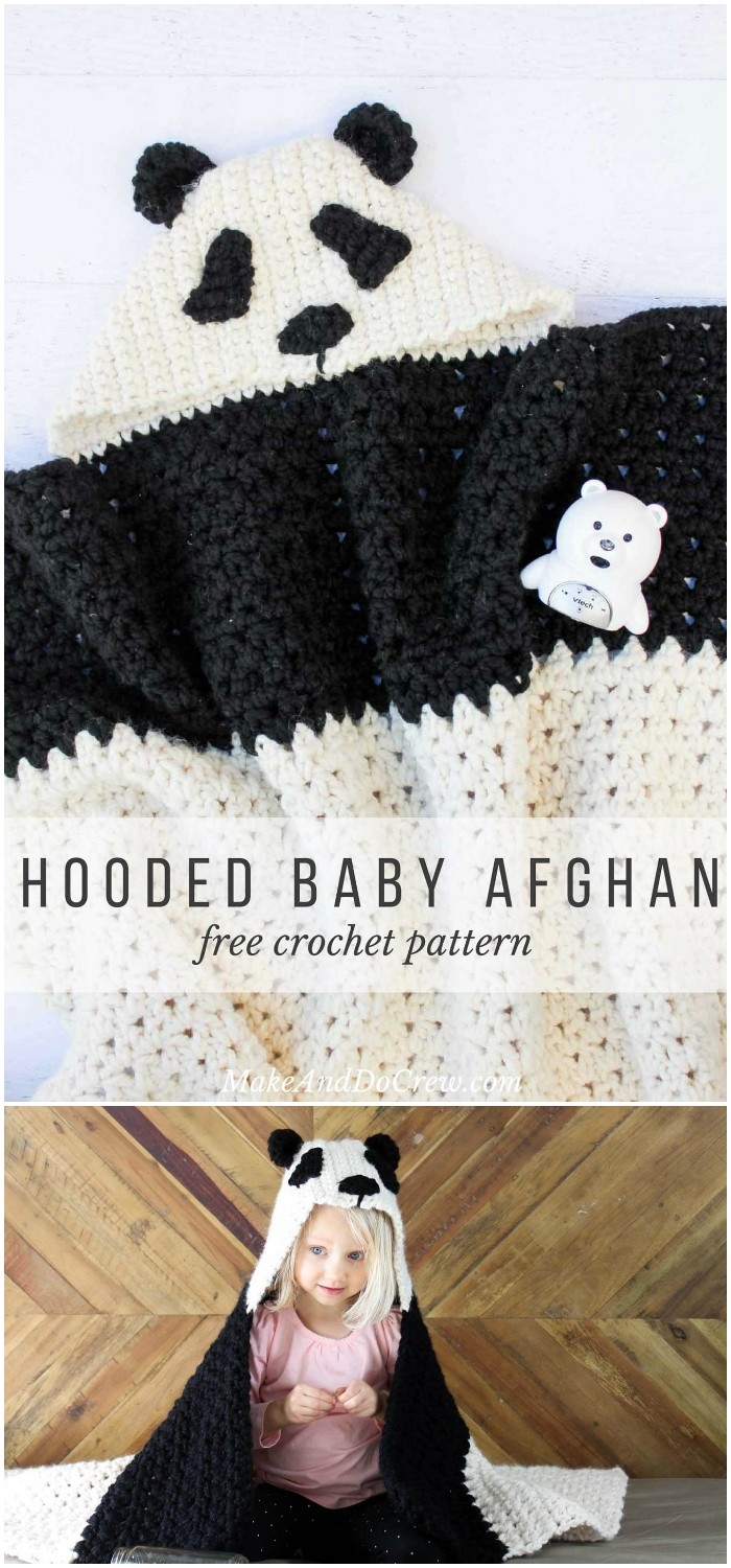 Crochet Panda Hooded Baby Afghan - All of these free crochet blanket patterns are so much beautiful and really easy. Most of them are so much less time-consuming and even they can be completed in less than one week. #Blankets #crochetblanket #crochetblanketpatterns #freecrochetblanketpattern #freecrochetblanket