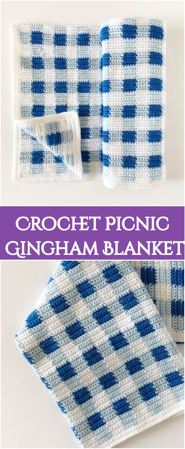 Crochet Picnic Gingham Blanket -All of these free crochet blanket patterns are so much beautiful and really easy. Most of them are so much less time-consuming and even they can be completed in less than one week. #Blankets #crochetblanket #crochetblanketpatterns #freecrochetblanketpattern #freecrochetblanket
