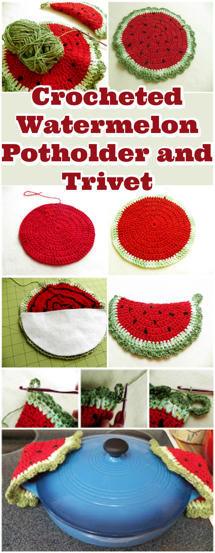 Crocheted Watermelon Potholder and Trivet - free crochet coaster patterns | Free Crochet Coaster Patterns