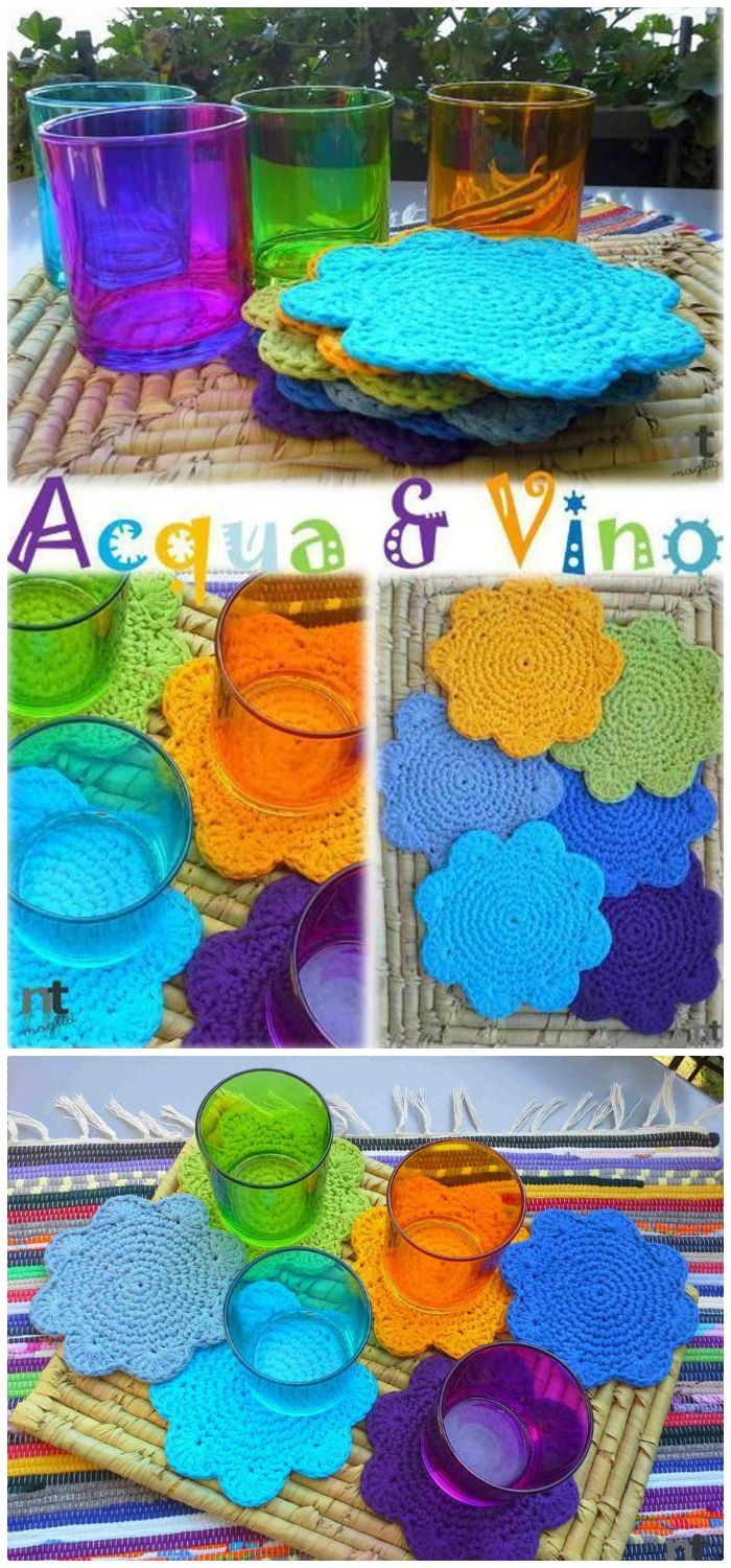 DIY Acqua & Vino Crochet Coasters - free crochet coaster patterns | Free Crochet Coaster Patterns