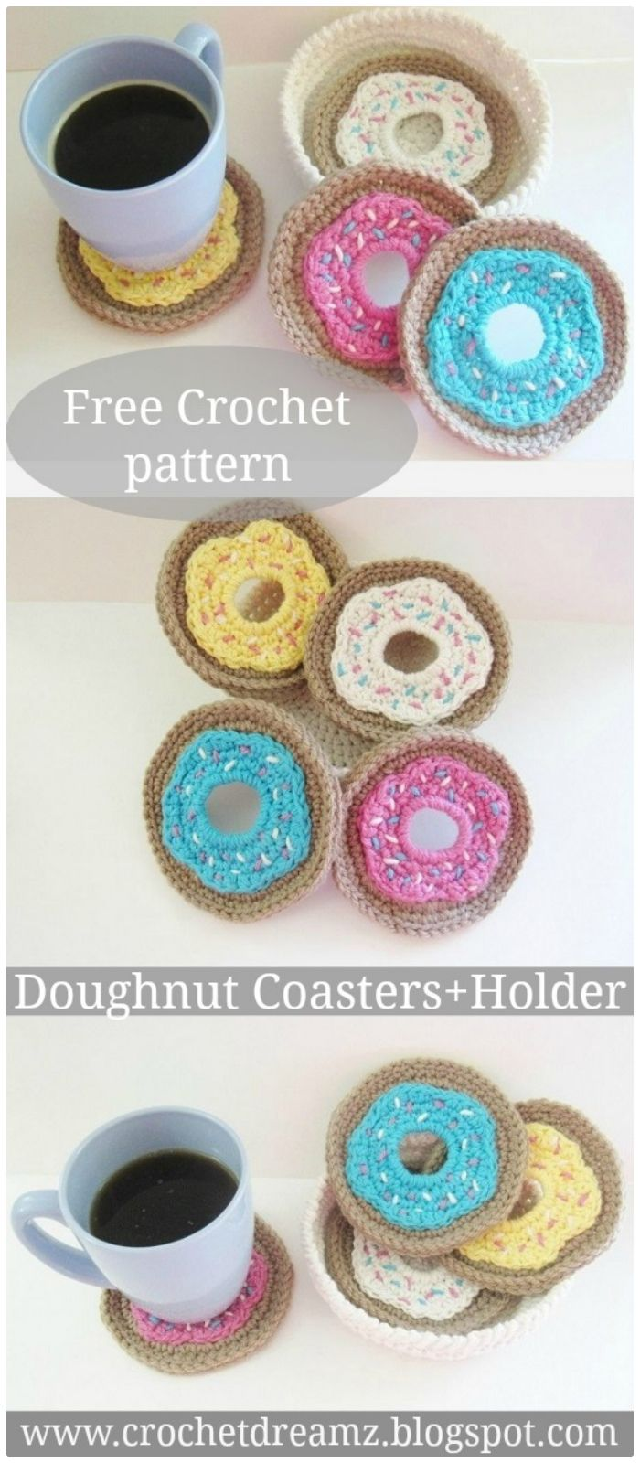 DIY Crochet Doughnut Coasters - free crochet coaster patterns | Free Crochet Coaster Patterns