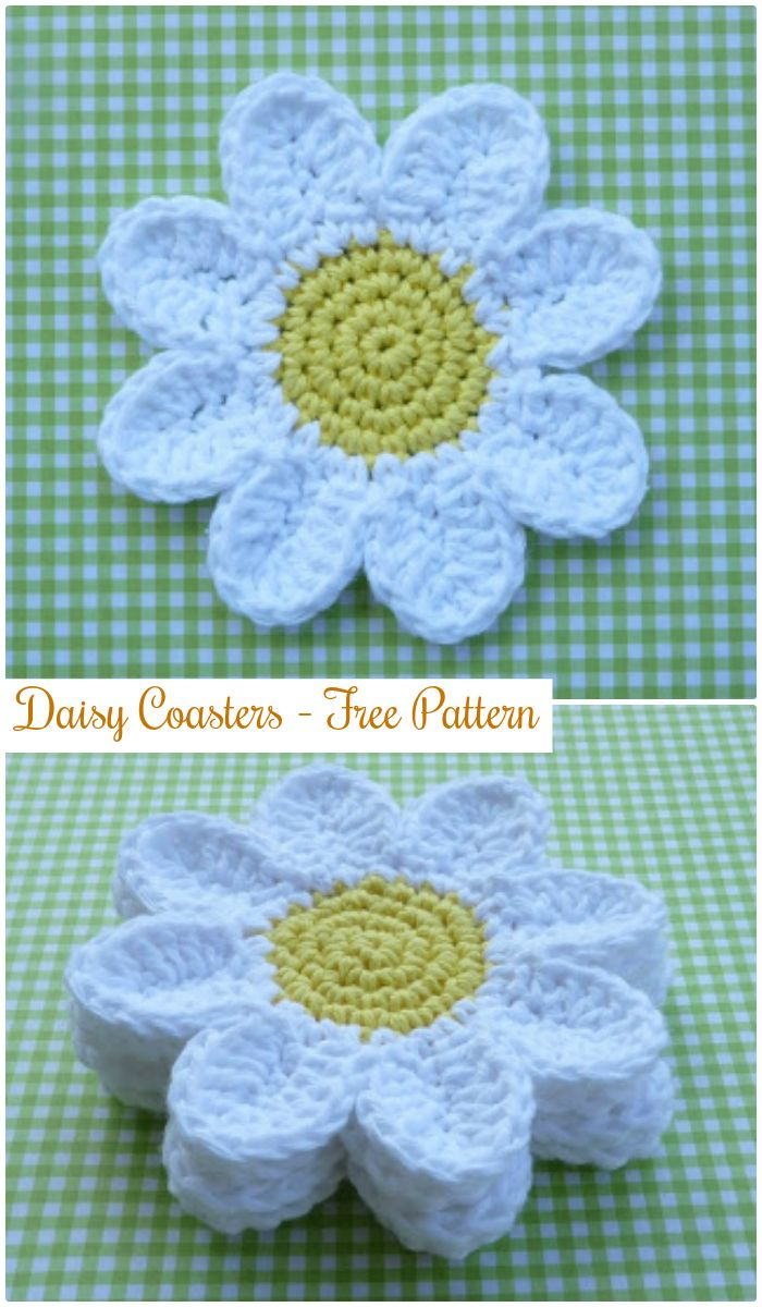 DIY Daisy Coasters - free crochet coaster patterns | Free Crochet Coaster Patterns