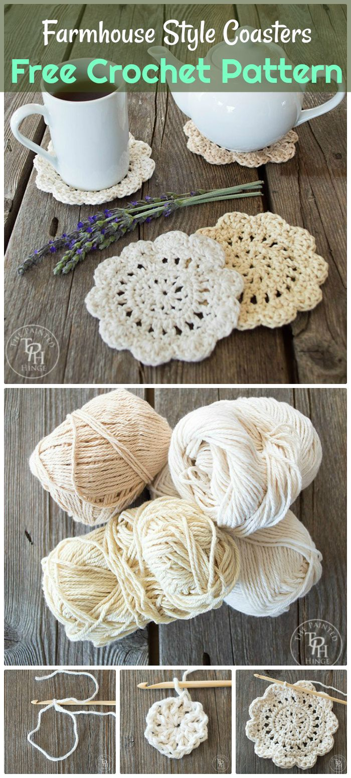 DIY Farmhouse Style Coasters - free crochet coaster patterns | Free Crochet Coaster Patterns