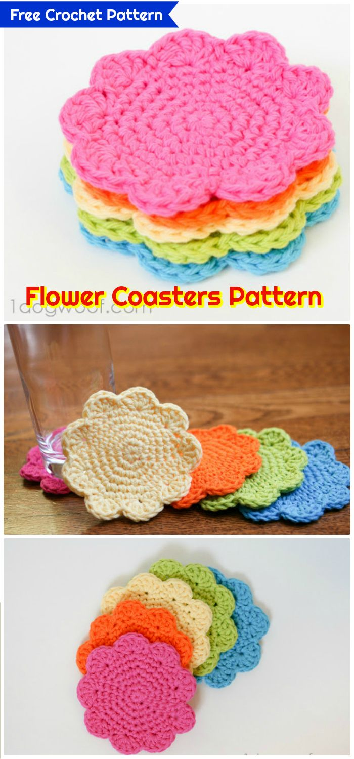 DIY Flower Coasters Pattern - free crochet coaster patterns | Free Crochet Coaster Patterns