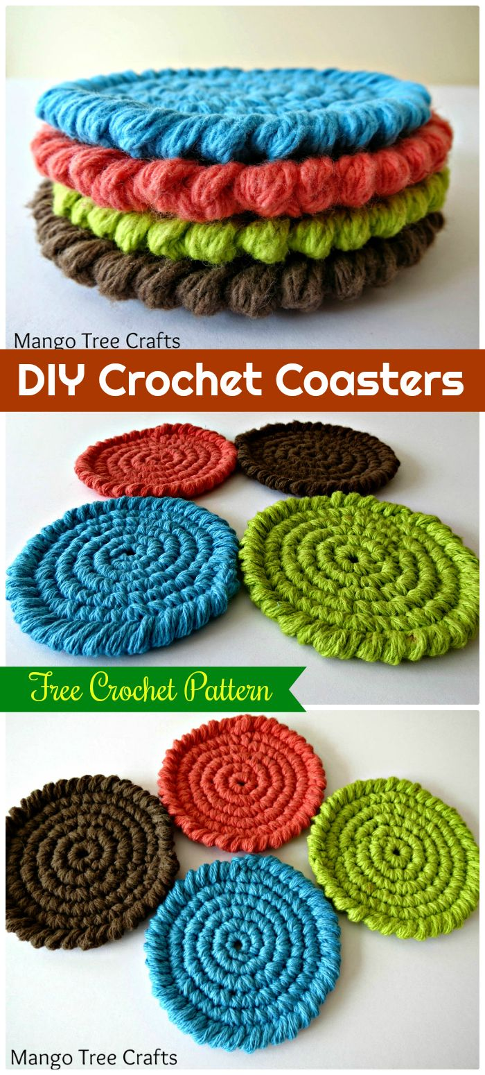 DIY Free Crochet Coasters Pattern - free crochet coaster patterns | Free Crochet Coaster Patterns