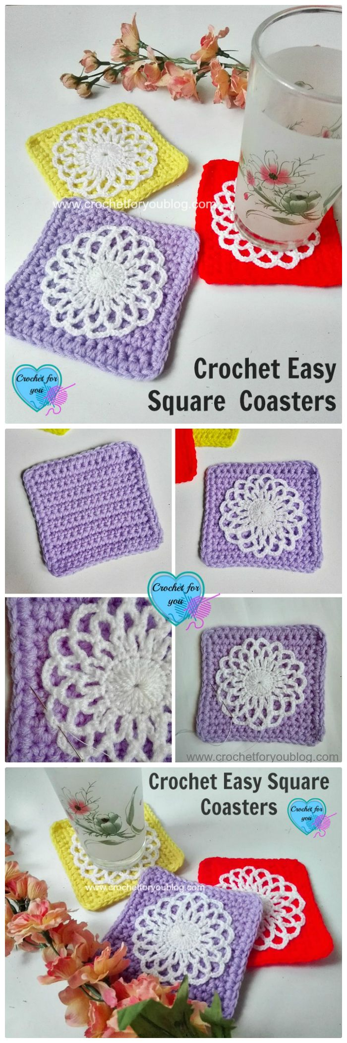 DIY Free Crochet Easy Square Coaster - free crochet coaster patterns | Free Crochet Coaster Patterns