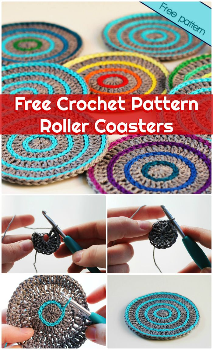 DIY Free Crochet Pattern Roller Coasters - free crochet coaster patterns | Free Crochet Coaster Patterns