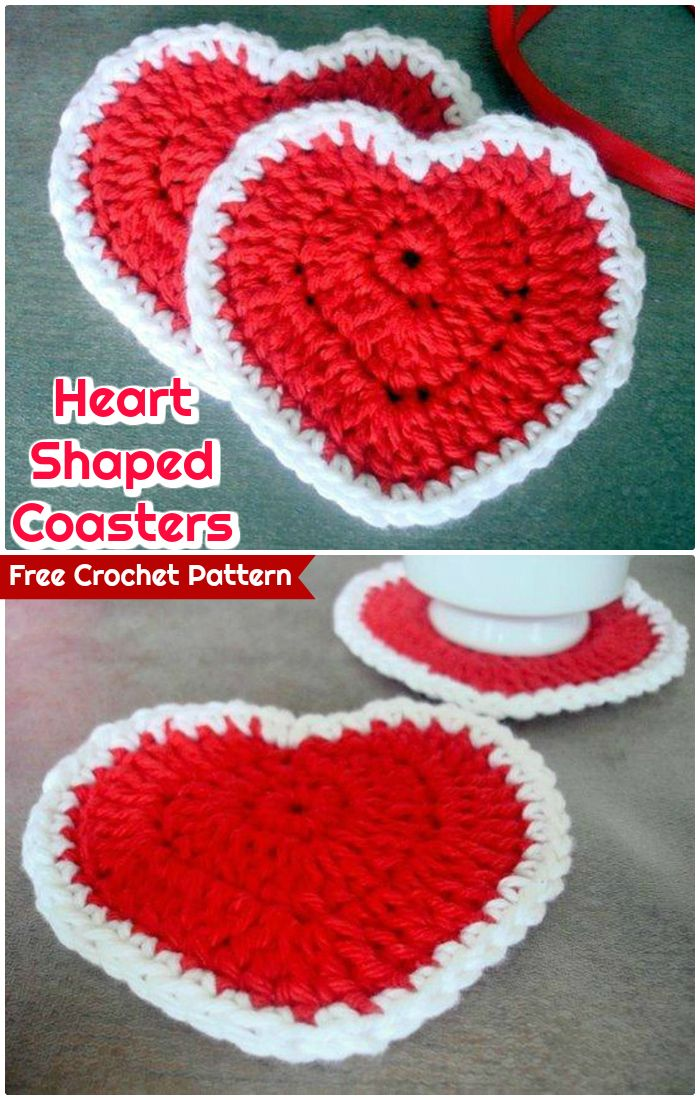 DIY Heart Shaped Coasters - free crochet coaster patterns | Free Crochet Coaster Patterns -Free Pattern