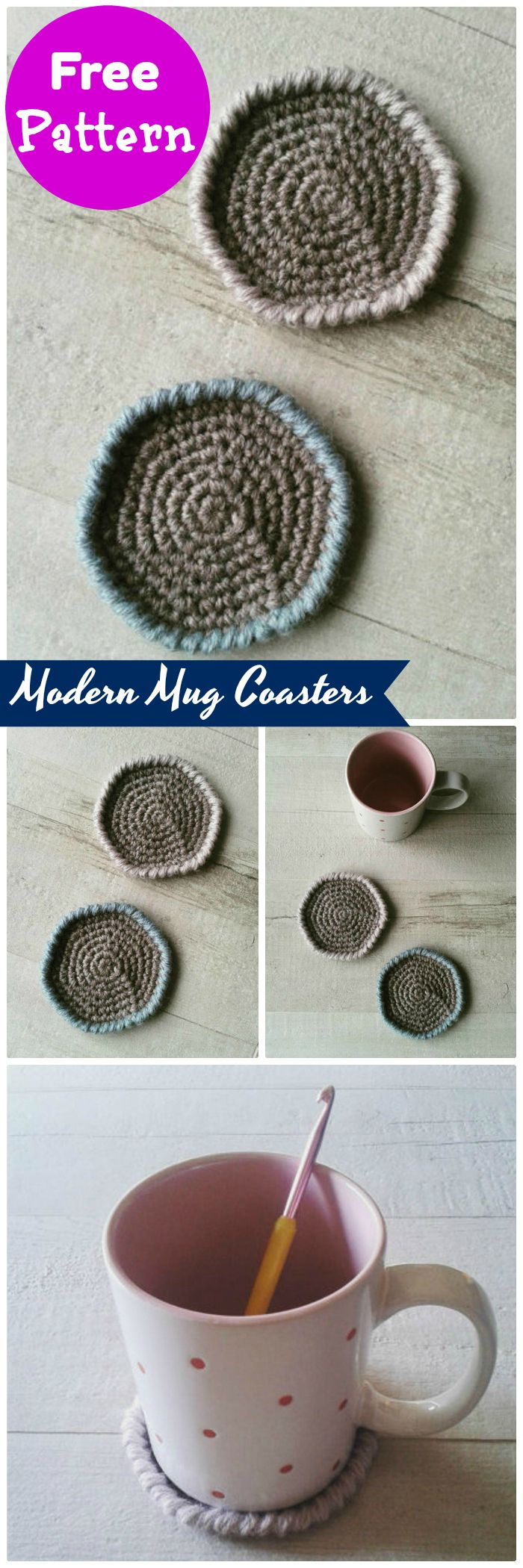 DIY Modern Mug Coasters - free crochet coaster patterns | Free Crochet Coaster Patterns