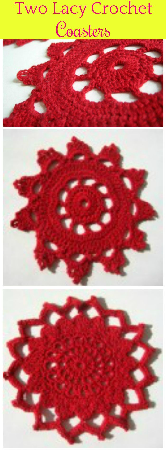 DIY Two Lacy Crochet Coasters - free crochet coaster patterns | Free Crochet Coaster Patterns