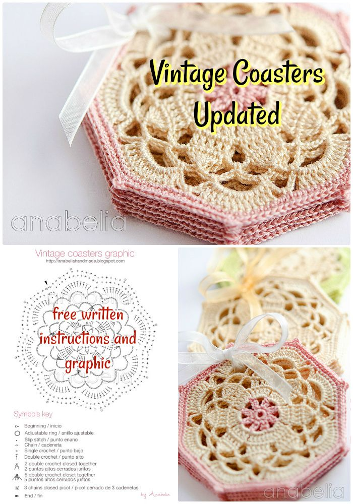 DIY Vintage Coasters Updated - free crochet coaster patterns | Free Crochet Coaster Patterns