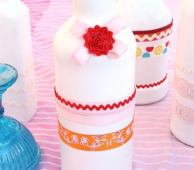 DIY Wine Bottle Vases Embellished Craft