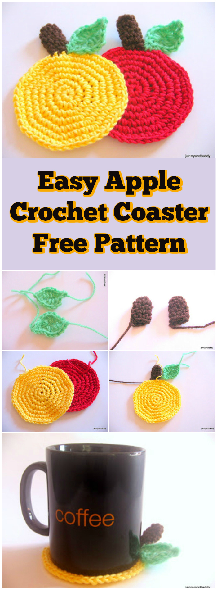Easy Apple Crochet Coaster Free Pattern - free crochet coaster patterns | Free Crochet Coaster Patterns