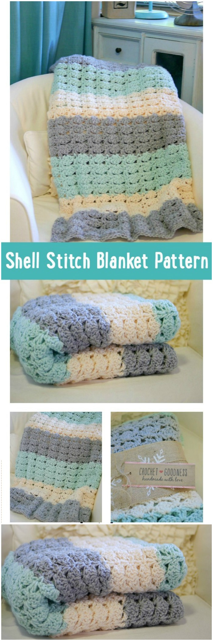Easy Crochet Shell Stitch Blanket Pattern - All of these free crochet blanket patterns are so much beautiful and really easy. Most of them are so much less time-consuming and even they can be completed in less than one week. #Blankets #crochetblanket #crochetblanketpatterns #freecrochetblanketpattern #freecrochetblanket