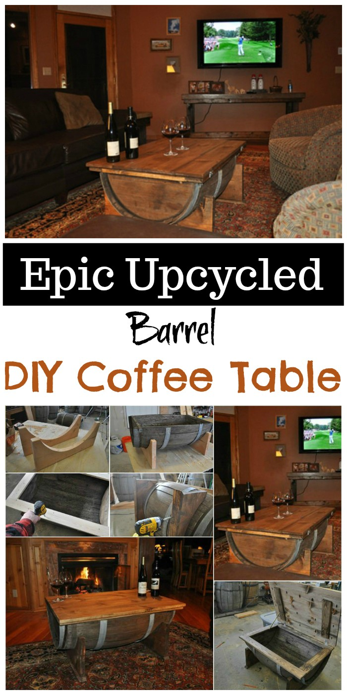 Epic Upcycled Barrel DIY Coffee Table