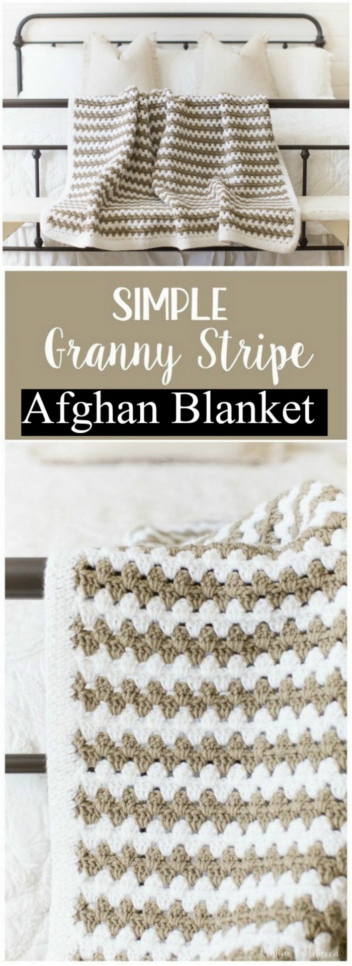 Simple Granny Stripe Afghan Blanket - All of these free crochet blanket patterns are so much beautiful and really easy. Most of them are so much less time-consuming and even they can be completed in less than one week. #Blankets #crochetblanket #crochetblanketpatterns #freecrochetblanketpattern #freecrochetblanket