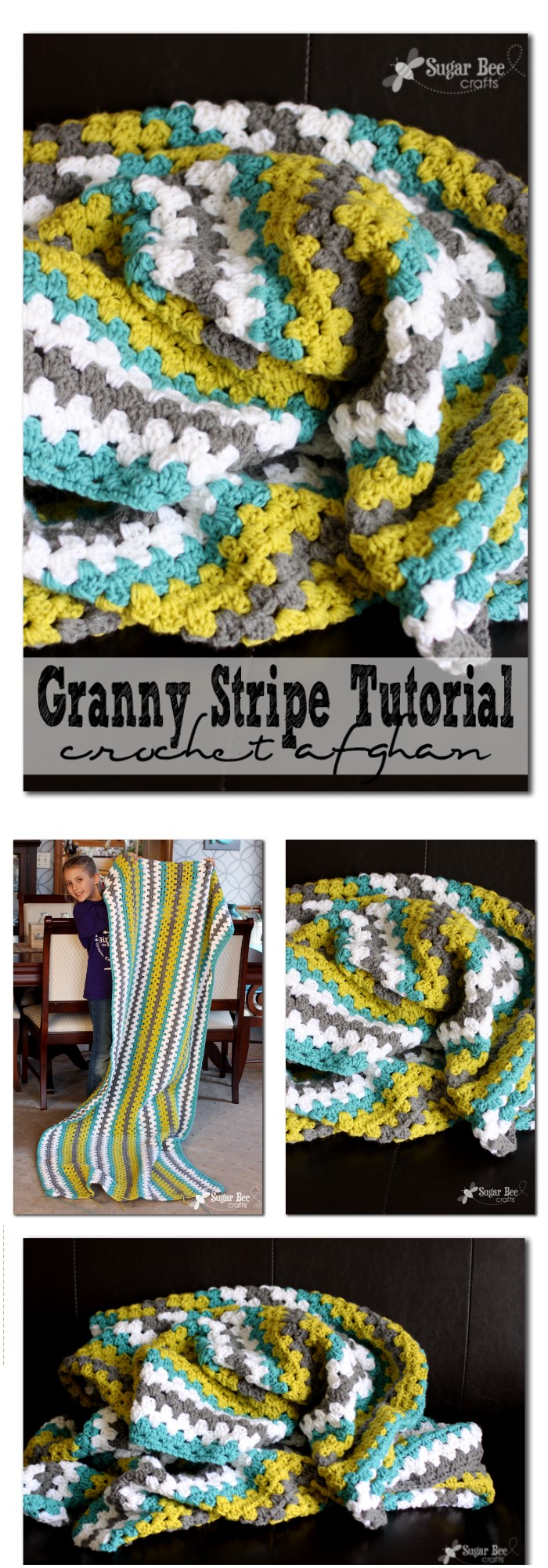Granny Stripe Crochet Afghan Throw Blanket - All of these free crochet blanket patterns are so much beautiful and really easy. Most of them are so much less time-consuming and even they can be completed in less than one week. #Blankets #crochetblanket #crochetblanketpatterns #freecrochetblanketpattern #freecrochetblanket