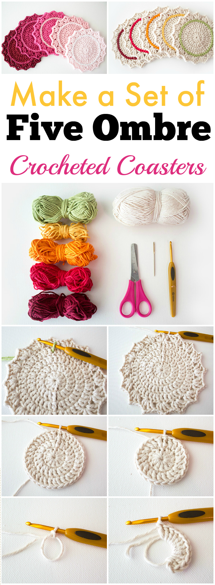 Make a Set of Five Ombre Crocheted Coasters - free crochet coaster patterns | Free Crochet Coaster Patterns