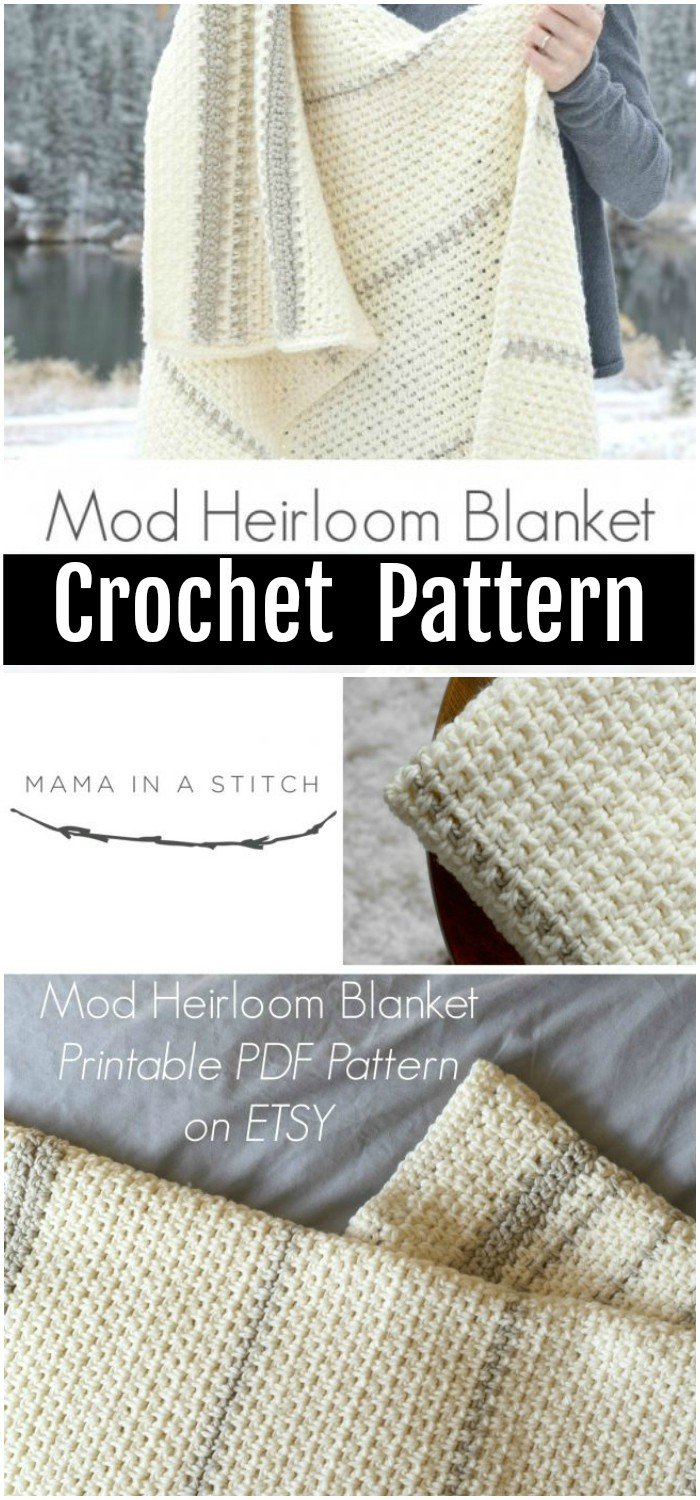 Mod Heirloom Crochet Blanket Pattern - All of these free crochet blanket patterns are so much beautiful and really easy. Most of them are so much less time-consuming and even they can be completed in less than one week. #Blankets #crochetblanket #crochetblanketpatterns #freecrochetblanketpattern #freecrochetblanket