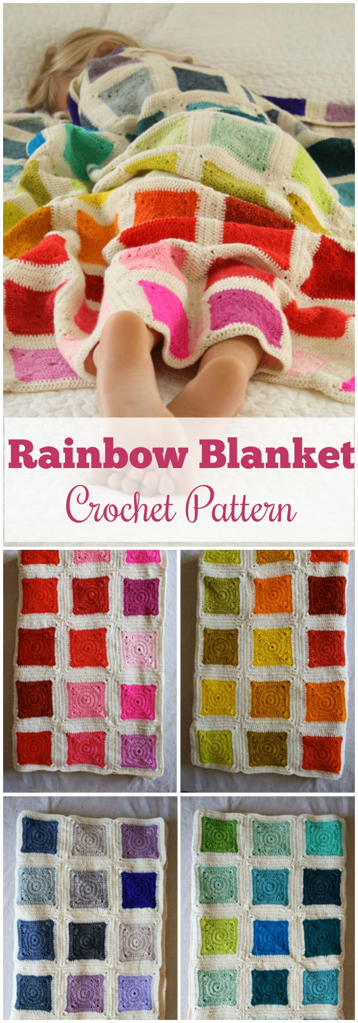 Rainbow Blanket Crochet Pattern - All of these free crochet blanket patterns are so much beautiful and really easy. Most of them are so much less time-consuming and even they can be completed in less than one week. #Blankets #crochetblanket #crochetblanketpatterns #freecrochetblanketpattern #freecrochetblanket