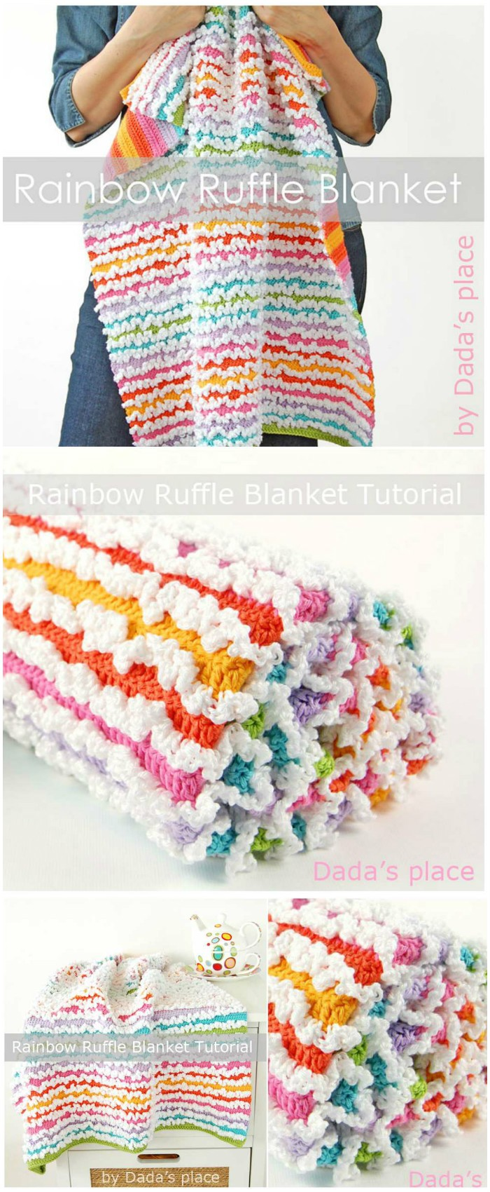 Rainbow Spring Ruffle Blanket -All of these free crochet blanket patterns are so much beautiful and really easy. Most of them are so much less time-consuming and even they can be completed in less than one week. #Blankets #crochetblanket #crochetblanketpatterns #freecrochetblanketpattern #freecrochetblanket