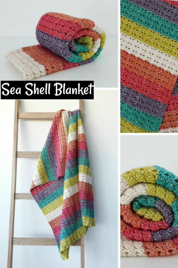 Sea Shell Blanket - All of these free crochet blanket patterns are so much beautiful and really easy. Most of them are so much less time-consuming and even they can be completed in less than one week. #Blankets #crochetblanket #crochetblanketpatterns #freecrochetblanketpattern #freecrochetblanket