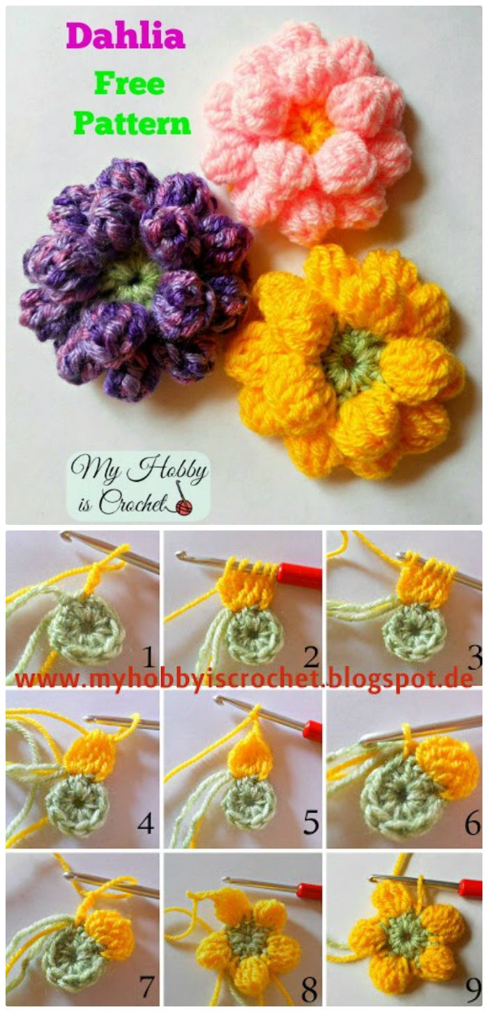Crochet Dahlia Flower - crochet flower pattern free | crochet flower pattern | crochet flower pattern free easy