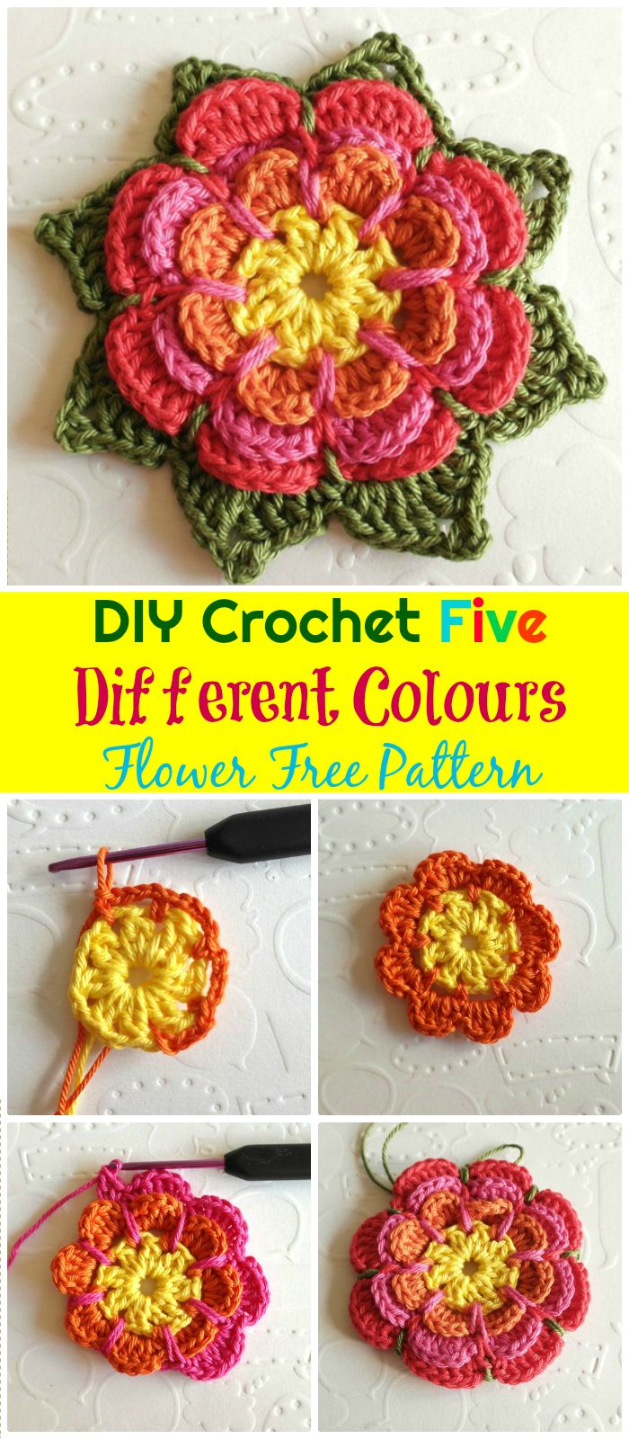 Crochet Different Colours Flower Free Pattern - crochet flower pattern free | crochet flower pattern | crochet flower pattern free easy