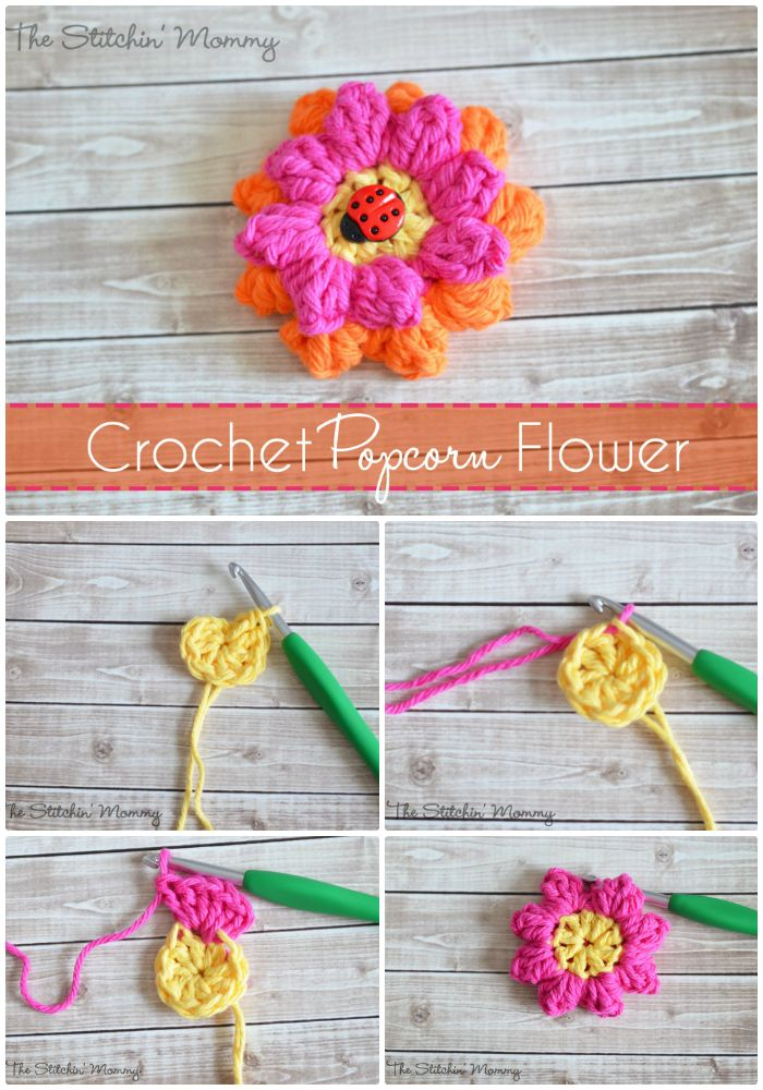 Crochet Popcorn Flower - crochet flower pattern free | crochet flower pattern | crochet flower pattern free easy