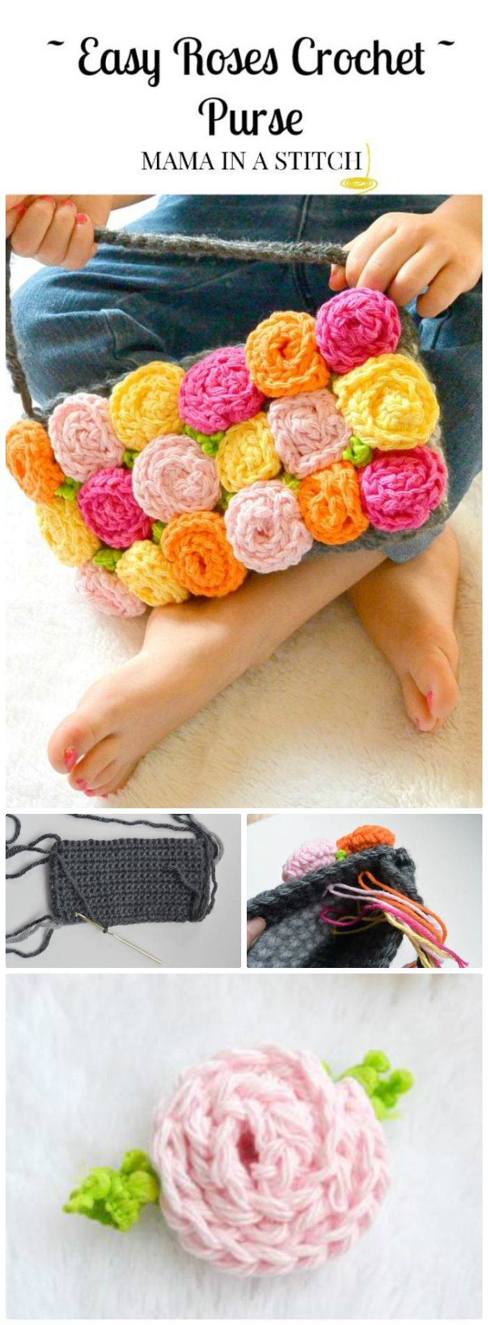 DIY Roses Crochet Purse - crochet flower pattern free | crochet flower pattern | crochet flower pattern free easy