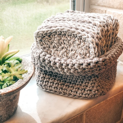 Crochet Cotton Cloths And Basket