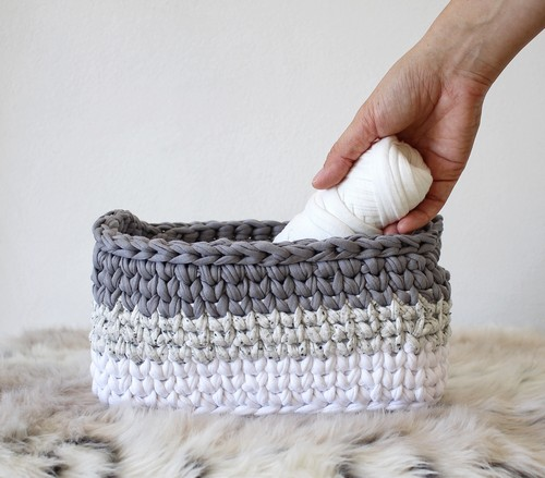 Crochet Ombre Rectangle Basket