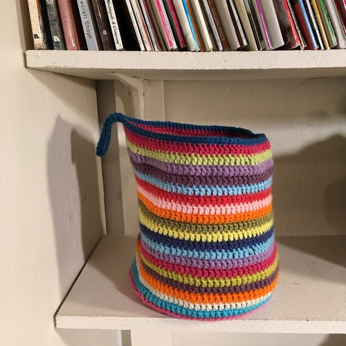 Crochet Stripey Hanging Basket