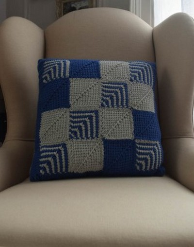 free Mitered Square pattern for sofa