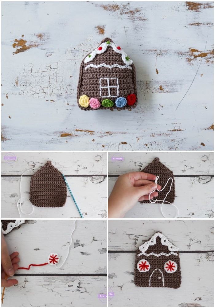 Crochet Gingerbread House Christmas Ornament