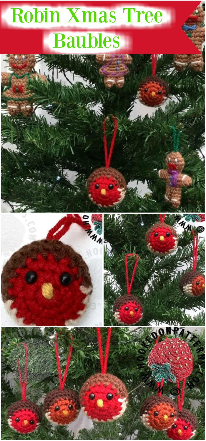 Robin Xmas Tree Baubles